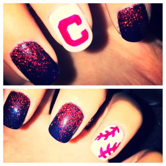Cleveland Indians nails! How awesome are these!!