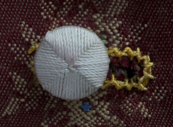 Modern copy of a Leek button: silk wrapped around a boxwood disc.
