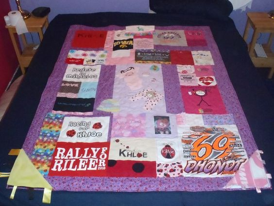 Baby clothes Memory quilt - made with bibs, burp cloths, blankets, sleepers, and some t-shirts.  LoVe making these!!  Want a custom one made?  Contact me: mailto:koon.sara@...