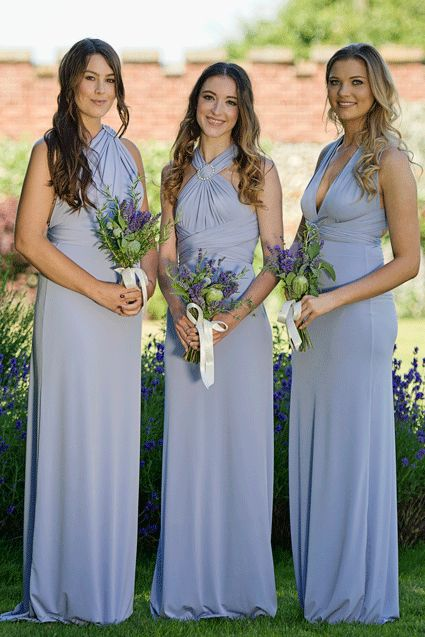 Dusty Blue Periwinkle Bridesmaid Dresses Flower To Match Colour Feature