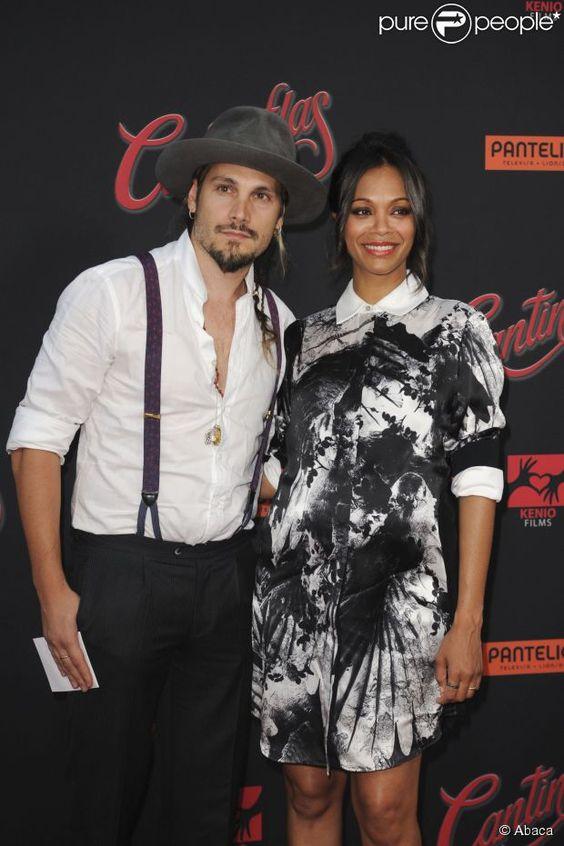 Zoe Saldana et son mari Marco Perego à  Los Angeles, le 27 août 2014.