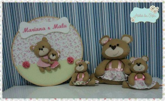 Que tal esse lindo kit com tema de ursinhas para decoração do quarto da sua princesa? Bastidor irmãs ursinhas + ursinha para decoração + chaveiros de ursinhas.