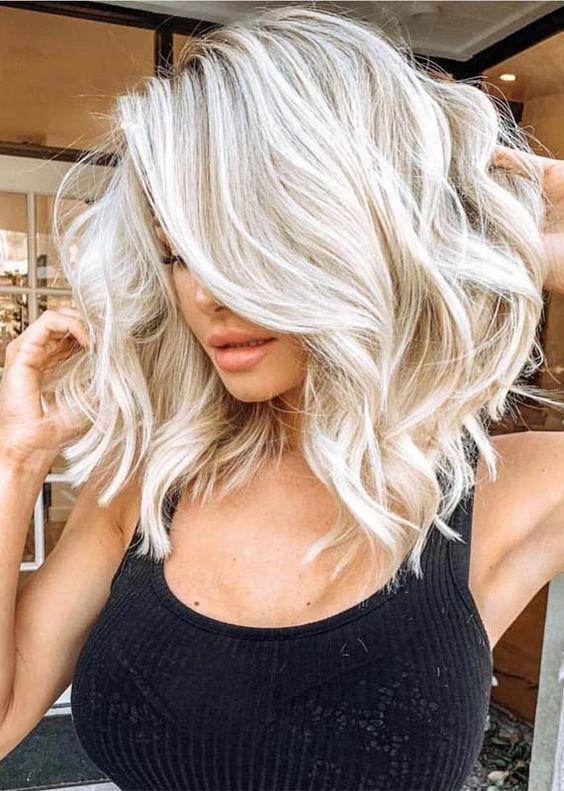 Darn Cool Medium Length Hairstyles For Thin Hair Icy Blonde Hair