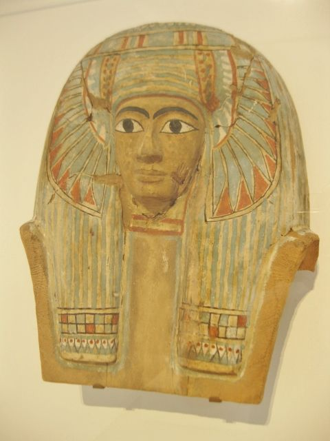 Face from an Egyptian wood mummy case. Third Intermediate Period, 945-715 BC…