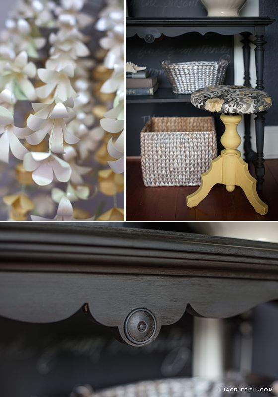 Gorgeous entry way accented with English Yellow Graphite Chalk Paint® decorative paint by Annie Sloan.Take a tour with Lia Griffith - as she shares her newly decorated home.