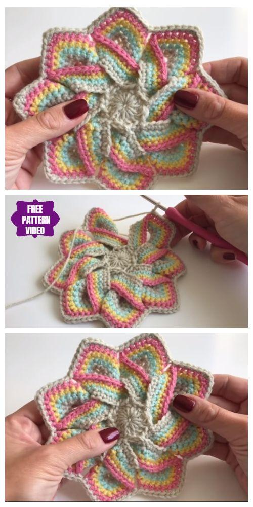 Crochet Swirl Flower Potholder Free Crochet Patterns Video