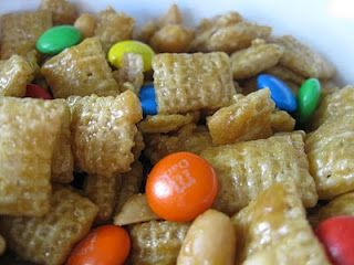 Caramel Chex Mix-Made 2 batches, 1st one was too crunchy so I lowered the heat to 200 and only baked the second for 45 minutes.  SOOOO much better.  -Brooke
