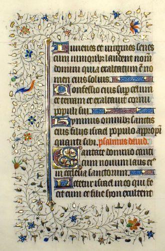 LOVELY-ILLUMINATED-MANUSCRIPT-BOOK-OF-HOURS-LEAF-c-1420-GOLD-ELABORATE-BORDERS