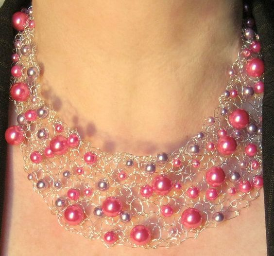 Pink Champagne Beaded Necklace Knitted Wire Jewelry by frenchsoul, $35.00