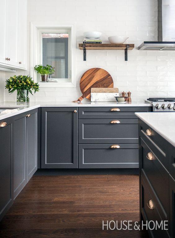 Dark Shaker Kitchen Cabinets with Light Backsplash