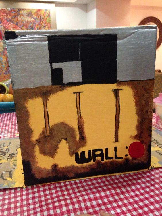 Paso 4: una vez seca la pintura traza con un lápiz el diseño de wall-e , compra pintura :negra,naranja,plata ,dorado y cobre . Paso5:una vez trazado con la pintura negra traza lo que hiciste con lápiz .  Paso6: A dar el efecto de óxidado , encima de lo negro comienza , con la brocha especial para sombrear , a colocar encima el tono naranja, cobre y por último el dorado .  Tip: utiliza pintura negra para dar mayor efecto al tono oxidado de fondo