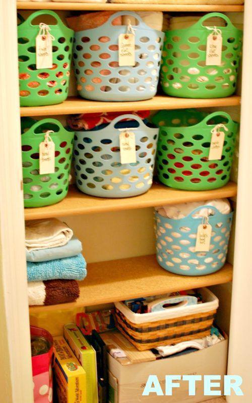 Konmari Method Dollar Tree Organizing Linen Closet Organization