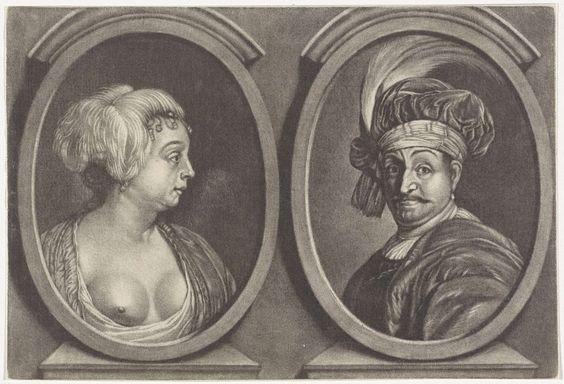 Anonymous | Dubbelportret van een man en een vrouw, Anonymous, 1650 - 1800 | Dubbelportret van een onbekende vrouw met een veer in het haar en een ontblote borst en een onbekende man met een gepluimde baret.