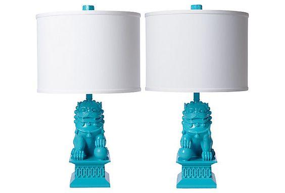 In love with Barbara Cosgrove's Foo Dog Table Lamp Set, Seaside on OneKingsLane.com