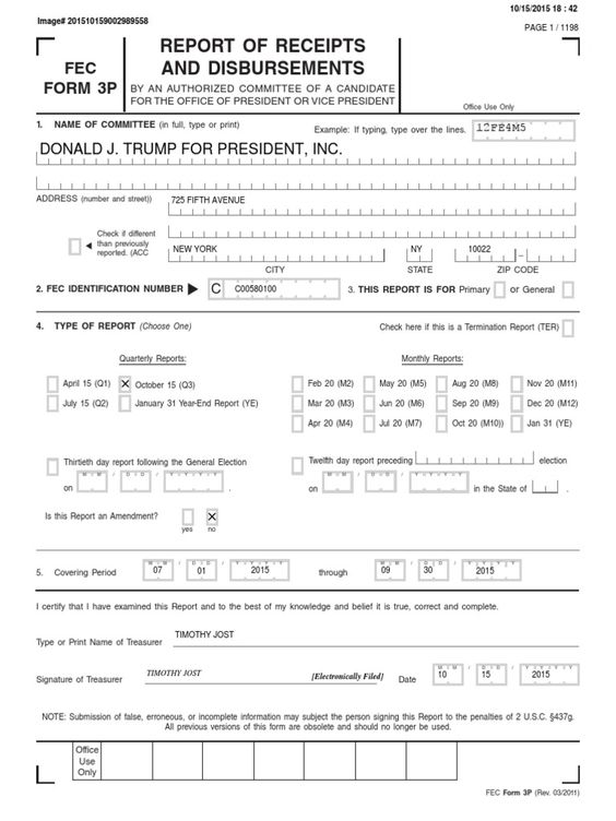 October 2015 Donald Trump Presidential Campaign FEC Finance Report - dot physical form