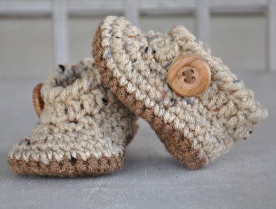 Baby Boy Angel Booties | Crochet | Pinterest | Niño bebé, Zapatitos ...