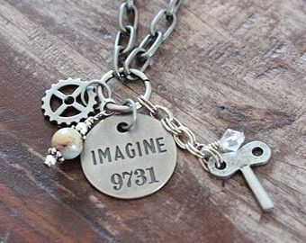 Boho Vintage Chunky Aged Silver Chain Whimsical IMAGINE Key Steampunk Charm Pendant Necklace ~ Wire Wrapped Jasper Bead