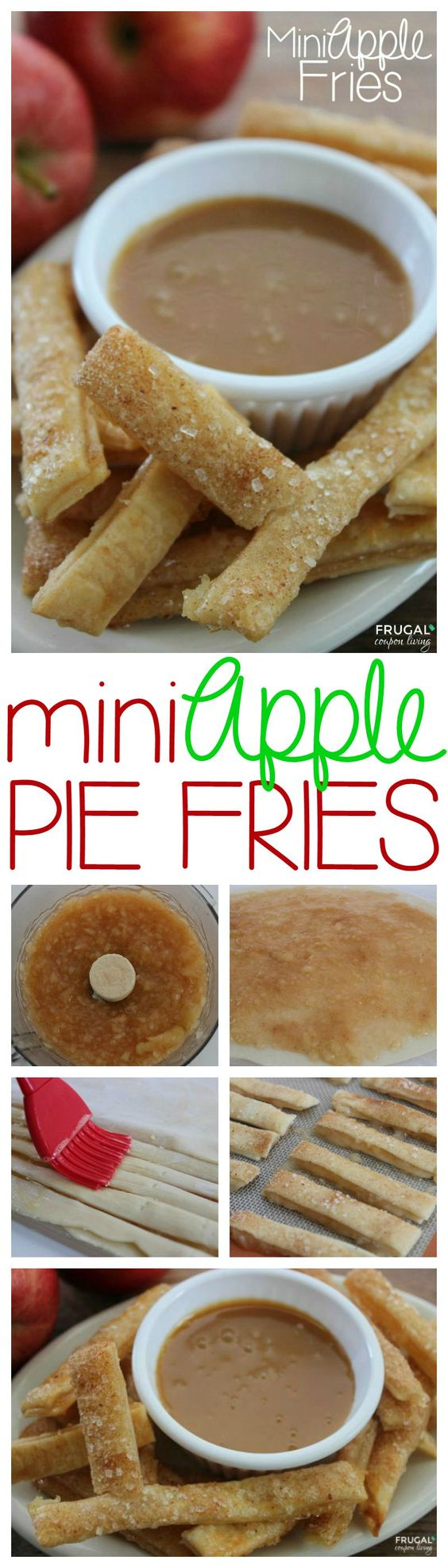 Homemade Apple Fries – Mini Apple Pie Sticks. These are great for a treat but also consider for a Fall Party Idea or After School Snack for the Kids. Apple Dessert Recipe on Fugal Coupon Living.