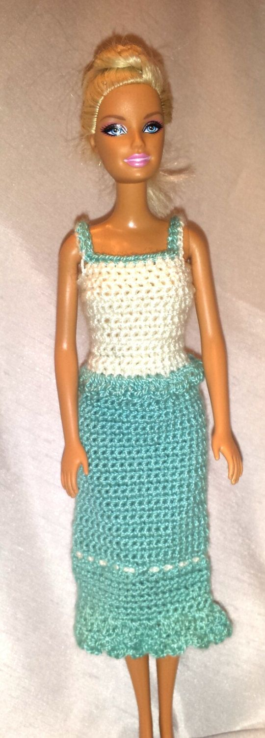 Crochet Barbie Clothes, Barbie Doll Outfit, Handmade Barbie Skirt and Top, Crochet Barbie Fashion Acrylic Outfit by GrandmasGalleria on Etsy