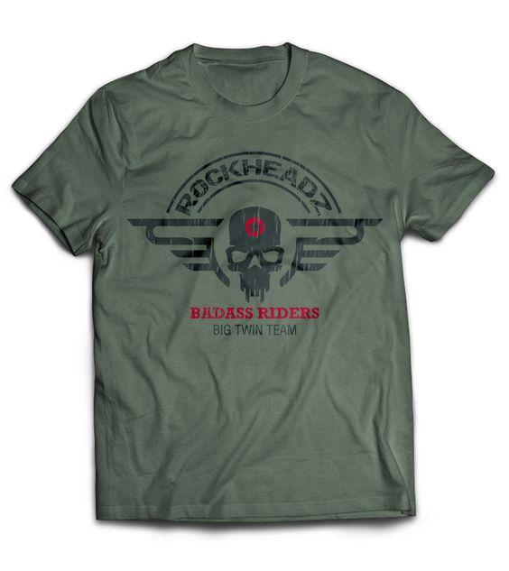 """T-Shirt """"Badass Riders"""" olive"""