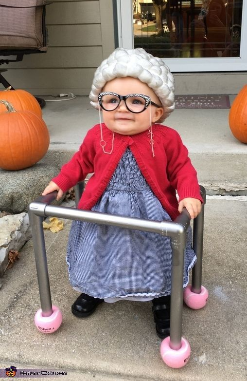 Tiffany: Paislee- 10 months old dressed as an old granny. Her wig is made out of cotton balls glued onto a hat and spray painted grey. Her walker is made out...