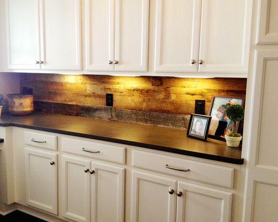 barn wood backsplash in walk in pantry kitchen