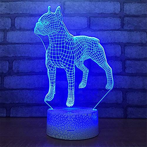 Bella House Lovely Visual Dog 3d Remote Control Optical Illusion Night Light Crackle Paint Base Table Desk Lamps 7 Colors Change Glow Led Art Sculpture Beside L In 2020 Baby Night