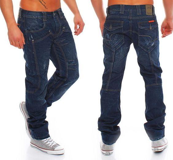 Jeansnet Herren Jeans Cargo JN-1001 Skinny Denim Zipper Club Hose Blau W29-W38