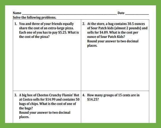 Word Problems For Multiplying And Dividing Decimals Dividing Decimals Word Problems Decimals Worksheets
