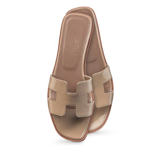 price kelly bag hermes - Oran Hermes ladies' sandal in sand patent leather, leather sole<br ...