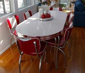 red table & chairs.  My Grandmother had this in her Kitchen.  All the grandchildren sat here, while the adults were in the formal dining room. (For the grown ups)