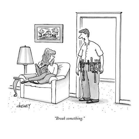 "Premium Giclee Print: ""Break something."" - New Yorker Cartoon by Tom Cheney : 12x12in"