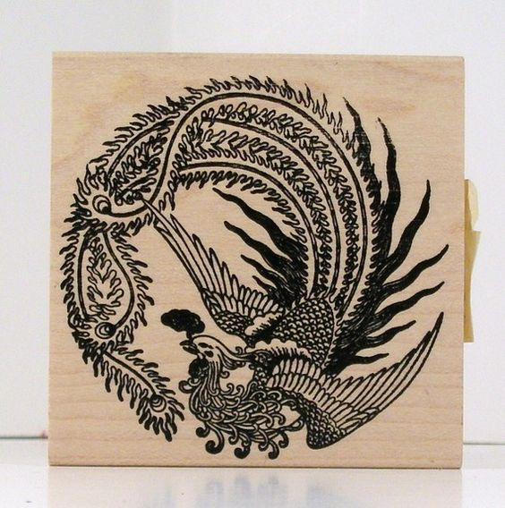 Asian phoenix circle rubber stamp francisco circles for Huma bird tattoo