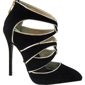 Women's Highest Heel Fierce-41 Stiletto - Black Microsuede/Metallic PU Dress