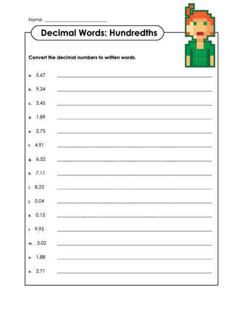 Decimals in the Written Form – Reading and Writing Decimals Worksheet