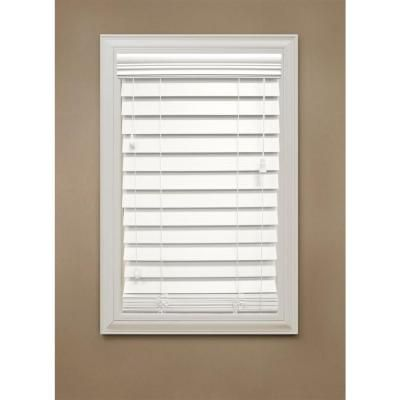 Home Decorators Collection White Premium Faux Wood Blind, 2-1/2 in. Slats, 64 in. Length (Price Varies by Size)-10793478067053 at The Home Depot