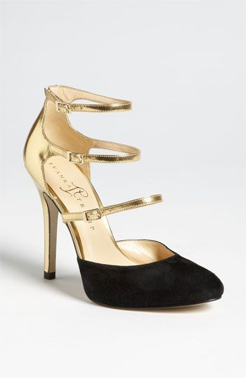 Elegant strappy gold and black heels from Ivanka Trump | Shoes