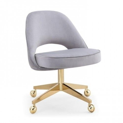 Grey Velvet Armless Office Desk Chair Gold Frame Casters Upholstery Fabric For Chairs Grey Desk Chair Desk Chair