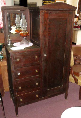 Antique 1900 S Pine Wardrobe Gentleman S Dresser Mirror 4