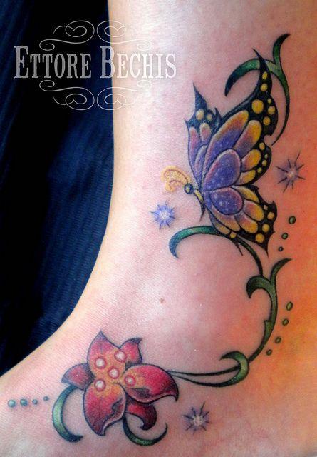 realistic butterfly tatoo   fiore,butterfly,flower,tattoo,tatuaggio, orchidea,realistico,realistic ...