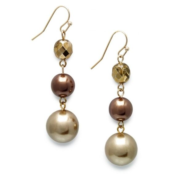 Charter Club Earrings, Brown Imitation Pearl Three Row Chandelier... ($6.99) found on Polyvore