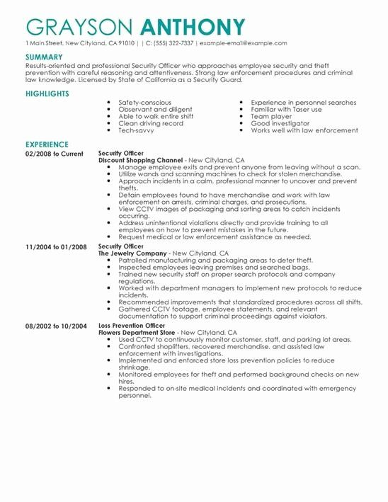 Security Guard Resume Example Awesome Security Guard Resume Resume Examples Job Resume Examples Security Resume