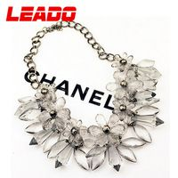LEADO new 2014 brand fashion metal chain crystal created gemstone statement necklaces jewelry for women  accessories gifts LJ016
