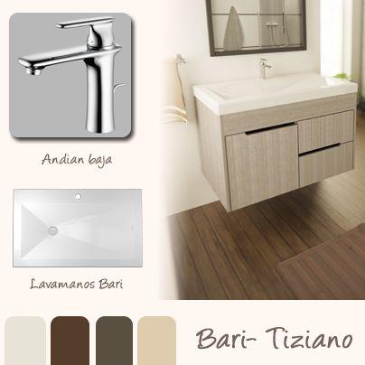 El lavamanos bari con su diseño, geométrico minimalista, hace una combinación perfecta con el mueble tiziano, se complementa con las tonalidades tierra, que es la tendencia actual en baños.  www.firplak.com
