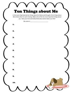 Printables Because Of Winn Dixie Worksheets because of winn dixie diorama use a box with an attached lid and ten things about me printable activity