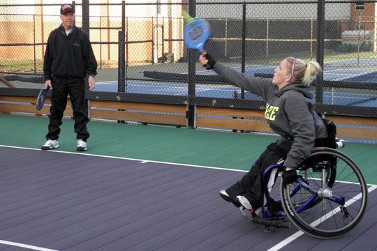 Don Godshaw, the driving force behind the advent of wheelchair paddle, created the first tournament of its kind this spring. Able-bodied and wheelchair players came together for an evening of new experiences for many, and fun for all. A fundraiser for Adaptive Adventures, an organization that provides outdoor sports opportunities for people with disabilities, the tournament drew a good following.