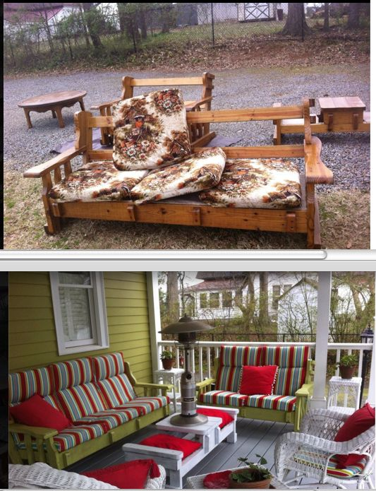 This is an awesome idea... Got this idea for couch to porch furniture transformation from Christine's Creations, Woodstock GA.   LOVE!! Maybe I should hit some yard sales.
