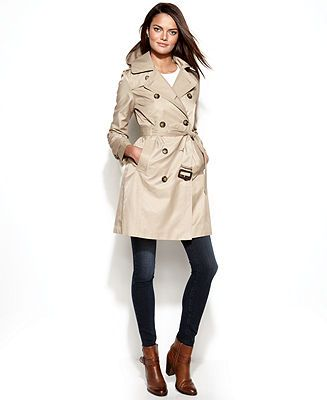 London Fog Petite Hooded Trench Coat - Petite Coats - Women