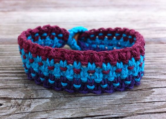 Multicolored Macrame Hemp Bracelet  Blue Purple and by hempkitty, $10.00
