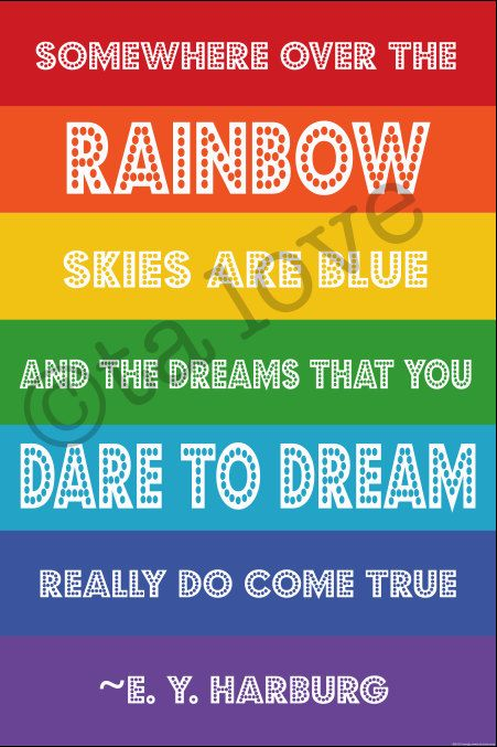Rainbow Theme Birthday Printable Poster 24x36 Some Where Over The Rainbow Quote. $20.00, via Etsy.